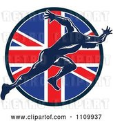 Vector Clip Art of Retro Sprinter Running over a British Union Jack Flag Circle by Patrimonio