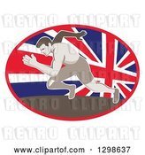 Vector Clip Art of Retro Sprinting Track and Field Athlete in a Union Jack Flag Oval by Patrimonio