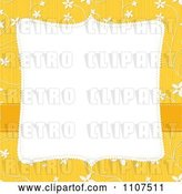 Vector Clip Art of Retro Square Frame with Copyspace over a Textured Yellow and White Floral Pattern by Amanda Kate