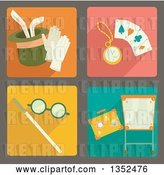 Vector Clip Art of Retro Square Magic Trick Icons by BNP Design Studio