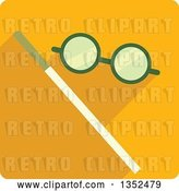Vector Clip Art of Retro Square Yellow Magic Trick Icon with a Wand and Glasses by BNP Design Studio