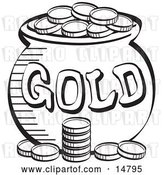 Vector Clip Art of Retro Stack of Coins near a Pot of Leprechaun's Gold, by Andy Nortnik