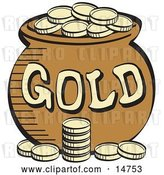 Vector Clip Art of Retro Stack of Gold Coins near a Pot of Leprechaun's Gold by Andy Nortnik