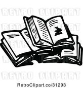 Vector Clip Art of Retro Stack of Open Books by Prawny Vintage