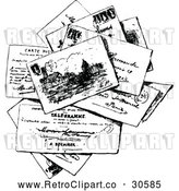 Vector Clip Art of Retro Stack of Post Cards by Prawny Vintage