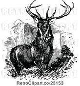 Vector Clip Art of Retro Stag Buck Deer with Antlers 1 by Prawny Vintage
