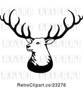 Vector Clip Art of Retro Stag Deer with Big Antlers by Prawny Vintage
