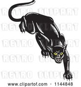 Vector Clip Art of Retro Stalking Black Jaguar by Patrimonio