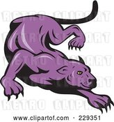 Vector Clip Art of Retro Stalking Purple Panther by Patrimonio