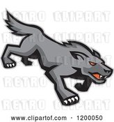 Vector Clip Art of Retro Stalking Red Eyed Gray Wolf by Patrimonio