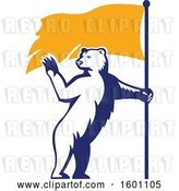 Vector Clip Art of Retro Standing Polar Bear Waving and Holding a Flag by Patrimonio