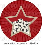 Vector Clip Art of Retro Star in a Circle, with Soccer Balls by Elaineitalia