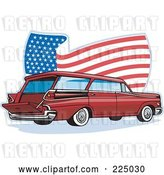 Vector Clip Art of Retro Station Wagon and Wavy American Flag Logo by Patrimonio