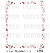 Vector Clip Art of Retro Stationery Background of with a Border of Confetti and Martinis Clipart Illustration by Andy Nortnik