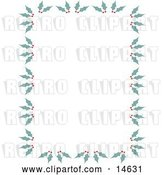 Vector Clip Art of Retro Stationery Border of Holly and Berries by Andy Nortnik