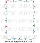 August 14th, 2018: Vector Clip Art of Retro Stationery Frame of Colorful Christmas Lights Bordering a White Background by Andy Nortnik