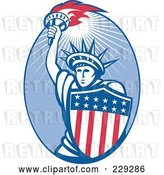 Vector Clip Art of Retro Statue of Liberty and American Shield Logo by Patrimonio