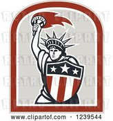Vector Clip Art of Retro Statue of Liberty Holding a Torch and Shield by Patrimonio