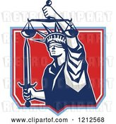 Vector Clip Art of Retro Statue of Liberty Holding Justice Scales and a Sword in a Red Shield by Patrimonio