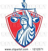 Vector Clip Art of Retro Statue of Liberty Holding Justice Scales in a Red Shield by Patrimonio