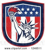 Vector Clip Art of Retro Statue of Liberty Holding up a Torch in an American Flag Shield by Patrimonio