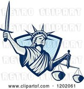 Vector Clip Art of Retro Statue of Liberty Lady Justice with a Sword and Scales, Emerging from a Blue Ray Shield by Patrimonio
