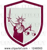 Vector Clip Art of Retro Statue of Liberty with a Sword and Scales in a Shield by Patrimonio
