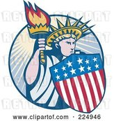 Vector Clip Art of Retro Statue of Liberty with an American Shield and Torch Logo by Patrimonio