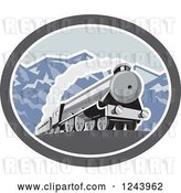 Vector Clip Art of Retro Steam Engine Train in the Mountains Inside an Oval by Patrimonio