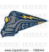 Vector Clip Art of Retro Steam Locomotive Train with Lightning Markings by Patrimonio