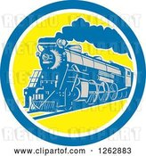 Vector Clip Art of Retro Steam Train in a Blue White and Yellow Circle by Patrimonio