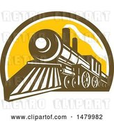 Vector Clip Art of Retro Steam Train in a Brown White and Yellow Half Circle by Patrimonio