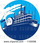 Vector Clip Art of Retro Steamboat in a Blue Circle by Patrimonio