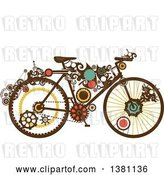 Vector Clip Art of Retro Steampunk Bicycle with Gears by BNP Design Studio