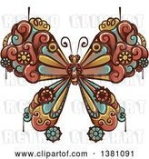 Vector Clip Art of Retro Steampunk Butterfly with Gear Cogs by BNP Design Studio