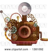 Vector Clip Art of Retro Steampunk Camera with a Flash and Gears by BNP Design Studio