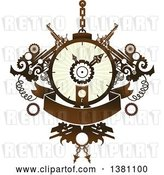Vector Clip Art of Retro Steampunk Clock with Gears and a Banner by BNP Design Studio