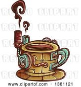 Vector Clip Art of Retro Steampunk Coffee Cup with Steam by BNP Design Studio