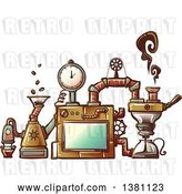 Vector Clip Art of Retro Steampunk Coffee Maker Invention by BNP Design Studio