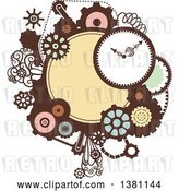 Vector Clip Art of Retro Steampunk Frame with a Clock and Gears by BNP Design Studio