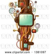Vector Clip Art of Retro Steampunk Frame with Cogs, Handles and Wheels by BNP Design Studio