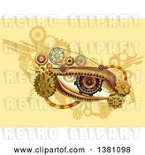 Vector Clip Art of Retro Steampunk Human Eye with Gears on Yellow by BNP Design Studio