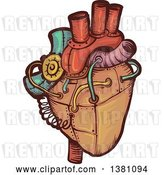 Vector Clip Art of Retro Steampunk Human Heart by BNP Design Studio