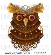 Vector Clip Art of Retro Steampunk Owl Head with Gears by BNP Design Studio