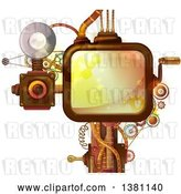 Vector Clip Art of Retro Steampunk Screen with a Crank Handle, Camera and Gears by BNP Design Studio