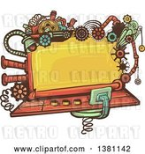 Vector Clip Art of Retro Steampunk Screen with Gears, Lights, Pipes, Springs and a Bird by BNP Design Studio