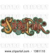 August 13rd, 2018: Vector Clip Art of Retro Steampunk Text with Gears over Turquoise by BNP Design Studio