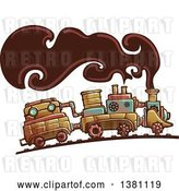 Vector Clip Art of Retro Steampunk Train with Smoke by BNP Design Studio