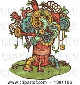 Vector Clip Art of Retro Steampunk Tree Made of Pipes, Springs and Gears by BNP Design Studio