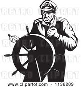 Vector Clip Art of Retro Steering Captain by Patrimonio